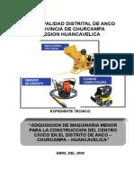 Exp. Tecnico Adquisicion de Maquinaria Menor