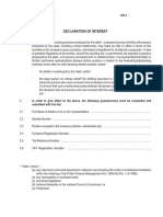E1 SBD4 Declaration of Interest - Issue 1 NT005-2011
