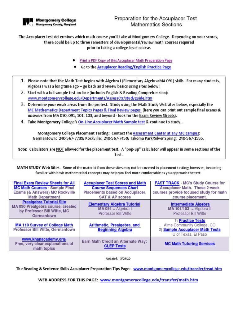 Preparation Math Accuplacer Test | Calificaciones | Valoración y