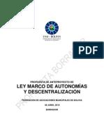Propuesta Ley Marco de Autonomías y Descentralización de la FAM
