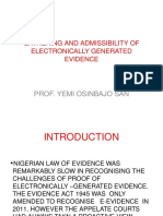 Gathering and Admissibility of Electronically Generated Evidence in Nigeria by Prof. Yemi Osinbajo SAN