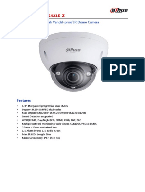 4 Megapixel Network IP Security Camera HD 1080P Dome Dahua IPC-HDBW5421E-Z Motor