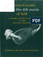 Ronald James Alexander, Richard Savino-Francesca Caccini's Il Primo Libro Delle Musiche of 1618_ a Modern Critical Edition of the Secular Monodies (Publications of the Early Music Intitute) (1997)