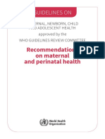 Guidelines Recommendations Maternal Health