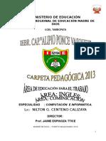 Carpeta Pedagogica 2013 Alipio Computacion Ingles Comunic 1,2,3,4,5 Sec