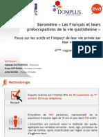 Les Français et leurs préoccupations de la vie quotidienne - Baromètre DOMPLUS 2016