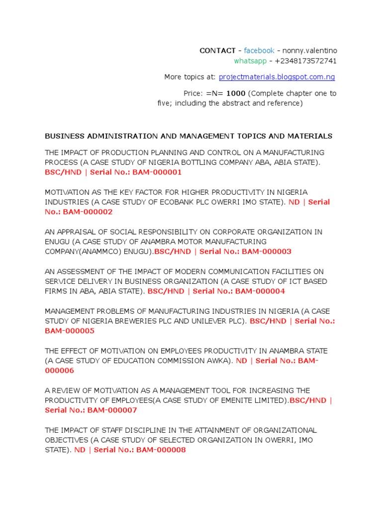 business management project topics