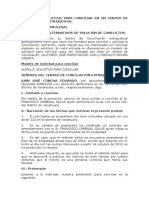 Modelo de Solicitud Para Conciliar en Un Centro de Conciliación Extrajudicial