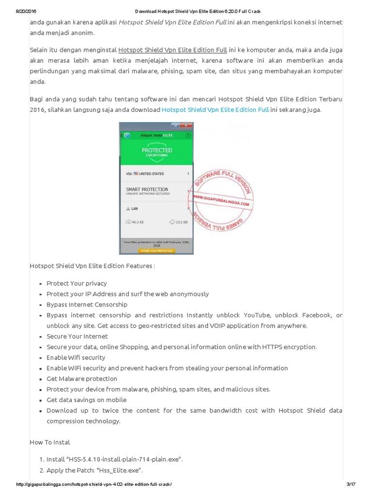 Download Hotspot Shield VPN Elite Edition 6 20 | Malware