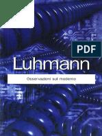 Niklas Luhmann Osservazioni Sul Moderno