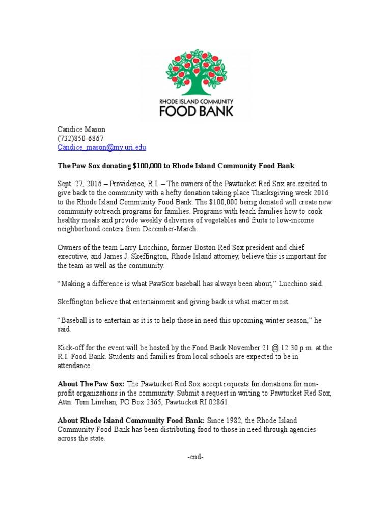 Ri Food Bank Press Release Baseball Teams Sports