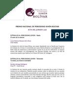 Acta Jurado Premio Nacional de Periodismo