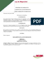 Ley de Migracion-Reglamento, Acuerdo Gubernativo 629-99