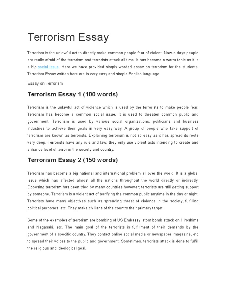 Sample Essay For Highschool Students An Explanation Of Terrorism Essay Essay On Terrorism Free Examples Of  Essays Research And Essays On Advertisements also Evaluation Essay Definition An Explanation Of Terrorism Essay Homework Academic Service  Transgender Essays