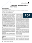 Accuracy of 3 Diagnostic Tests for Anterior Cruciate Ligament Tears