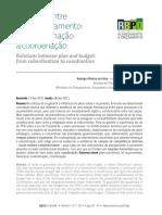 Relações Entre Plano e Orçamento - Da Subordinação à Coordenação RBPO