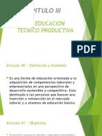 La Educacion Tecnico Productiva