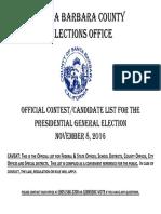 Santa Barbara County Elections Office Nov. 8, 2016 Candidate List