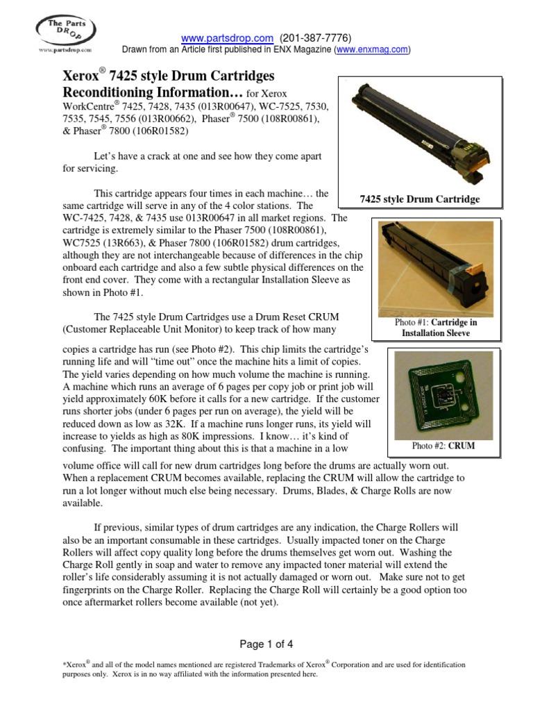 7425 drum cartridge reconditioning copy bearing mechanical screw