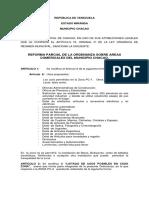 Reforma Parcial de La Ordenanza Sobre Areas Comerciales Del Municipio Chacao
