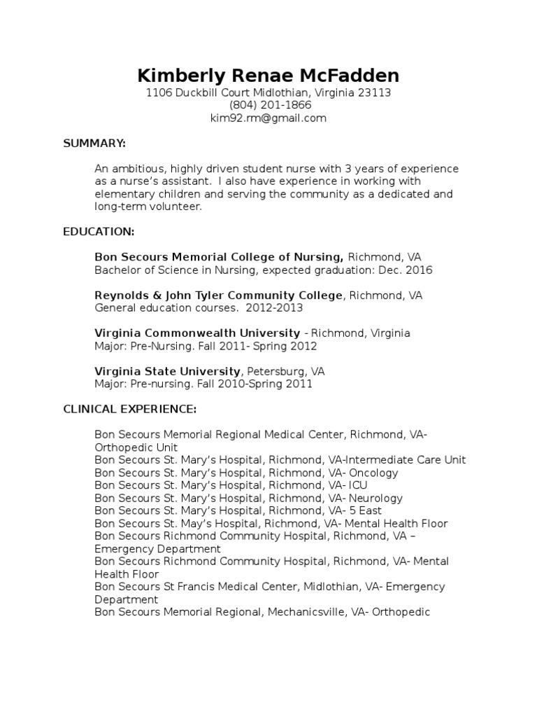 Final resume virginia richmond 1betcityfo Choice Image