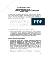 Declaración conjunta de Bolivia y Perú en el II Gabinete Binacional