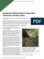 El Papel de La Biodiversidad en La Agricultura Campesina