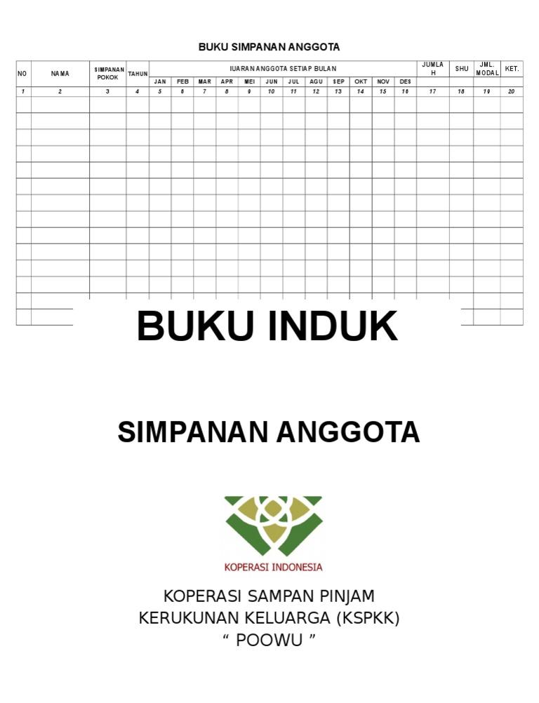 Contoh Buku Simpanan Anggota Koperasi