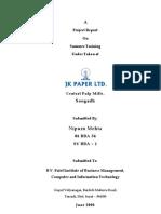 Jk Paper BBA Industrial Training