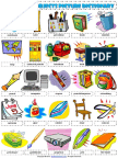 Classroom Objects Esl Vocabulary Picture Dictionary Worksheet for Kids