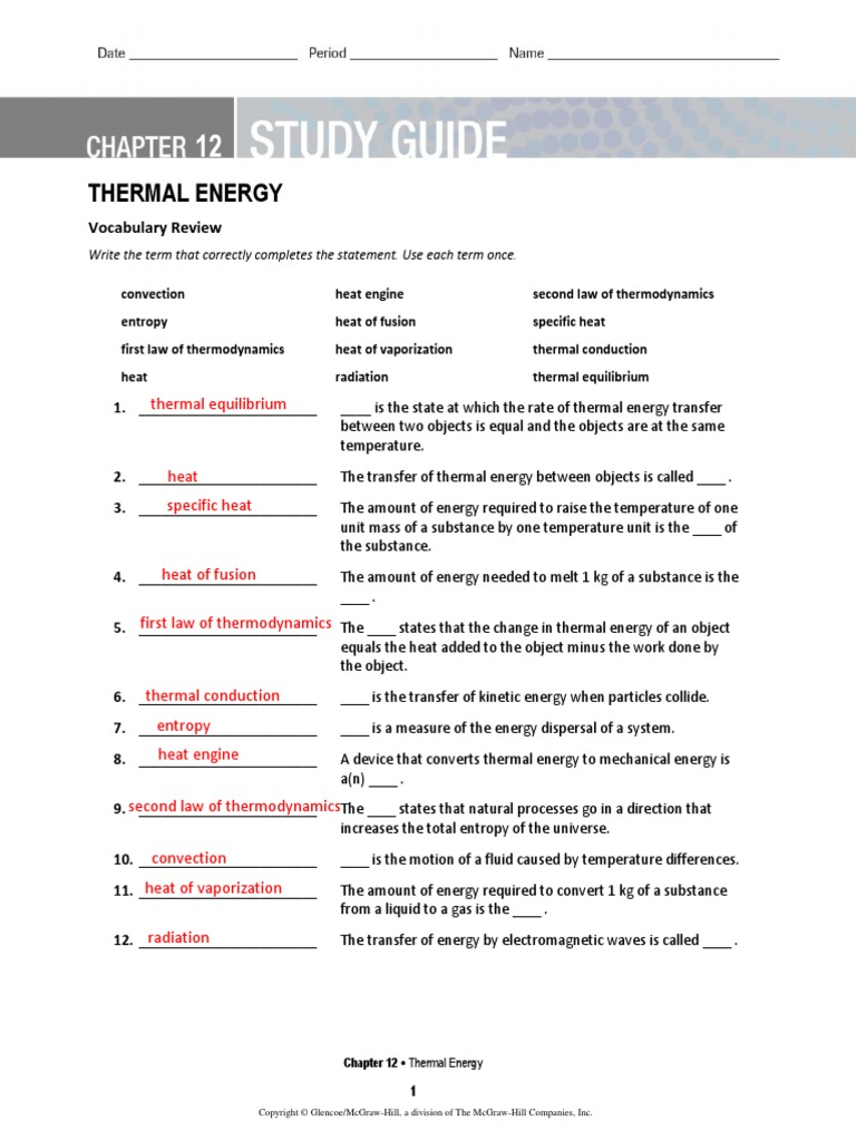 Ch 12 Study Guide | Heat | Laws Of Thermodynamics