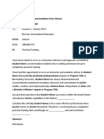 Advisor - Reference Material for Writing Recommendation Letters
