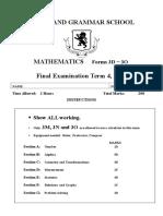 Maths Revision Year 9