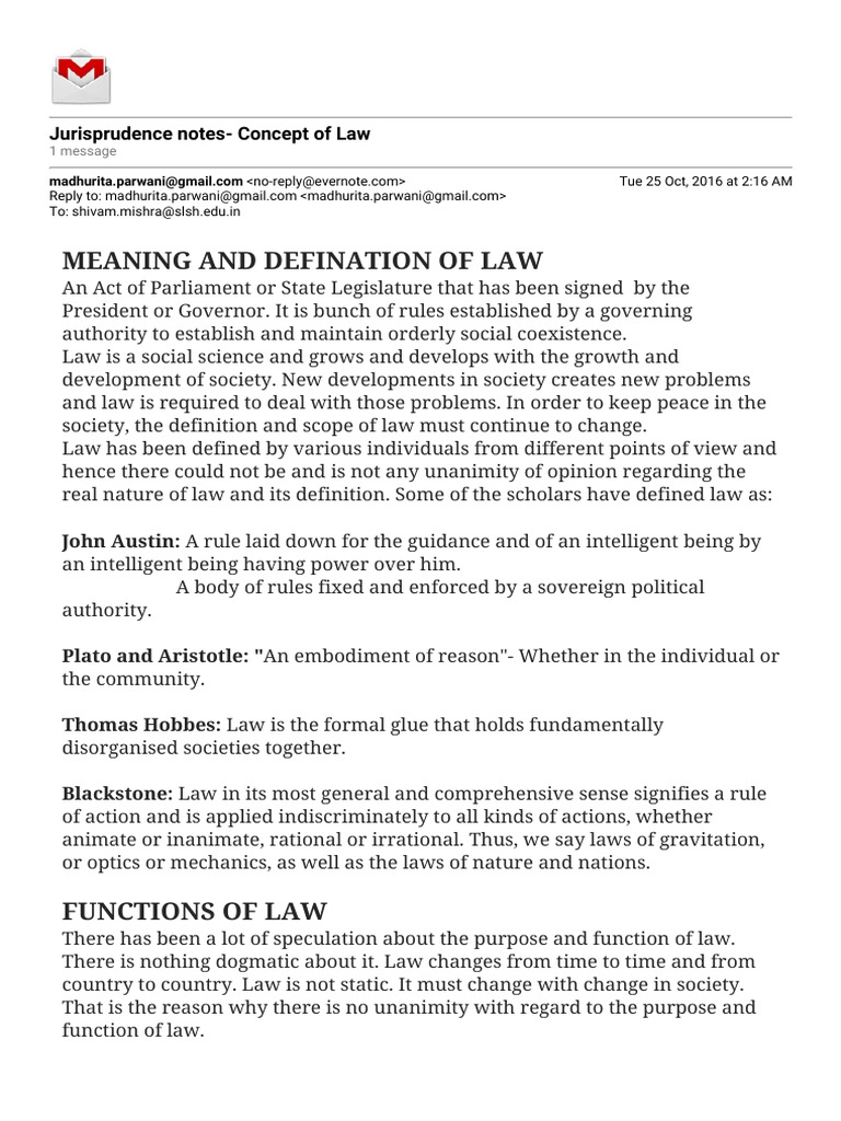 Gmail - Jurisprudence Notes- Concept of Law | Jurisprudence | Defamation