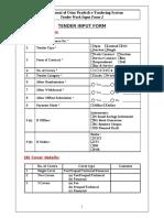 Tender Datasheet