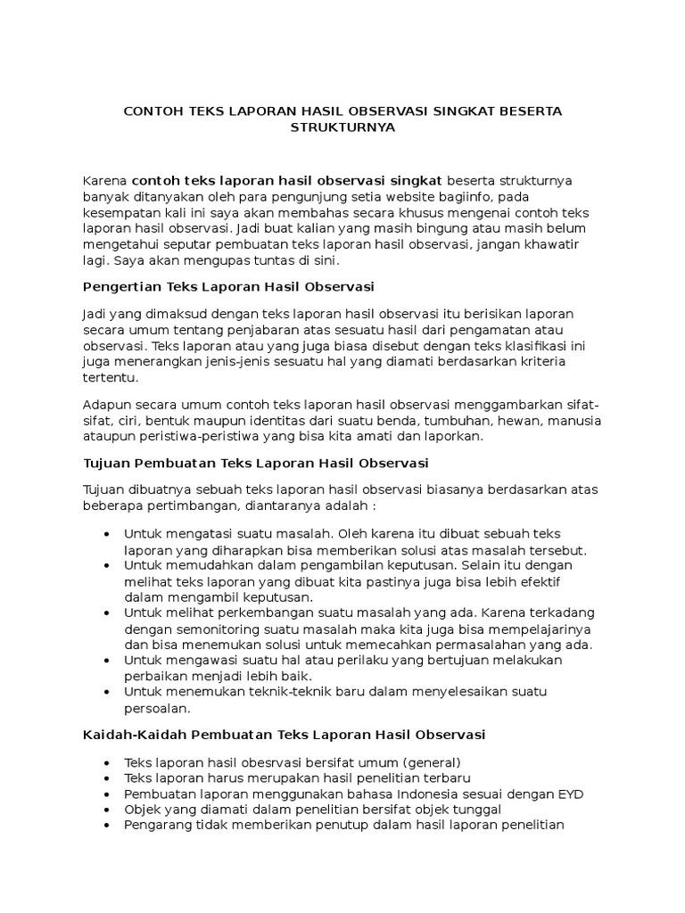Contoh Laporan Hasil Observasi Singkat