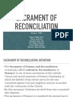 Sacrament of Reconciliation Report