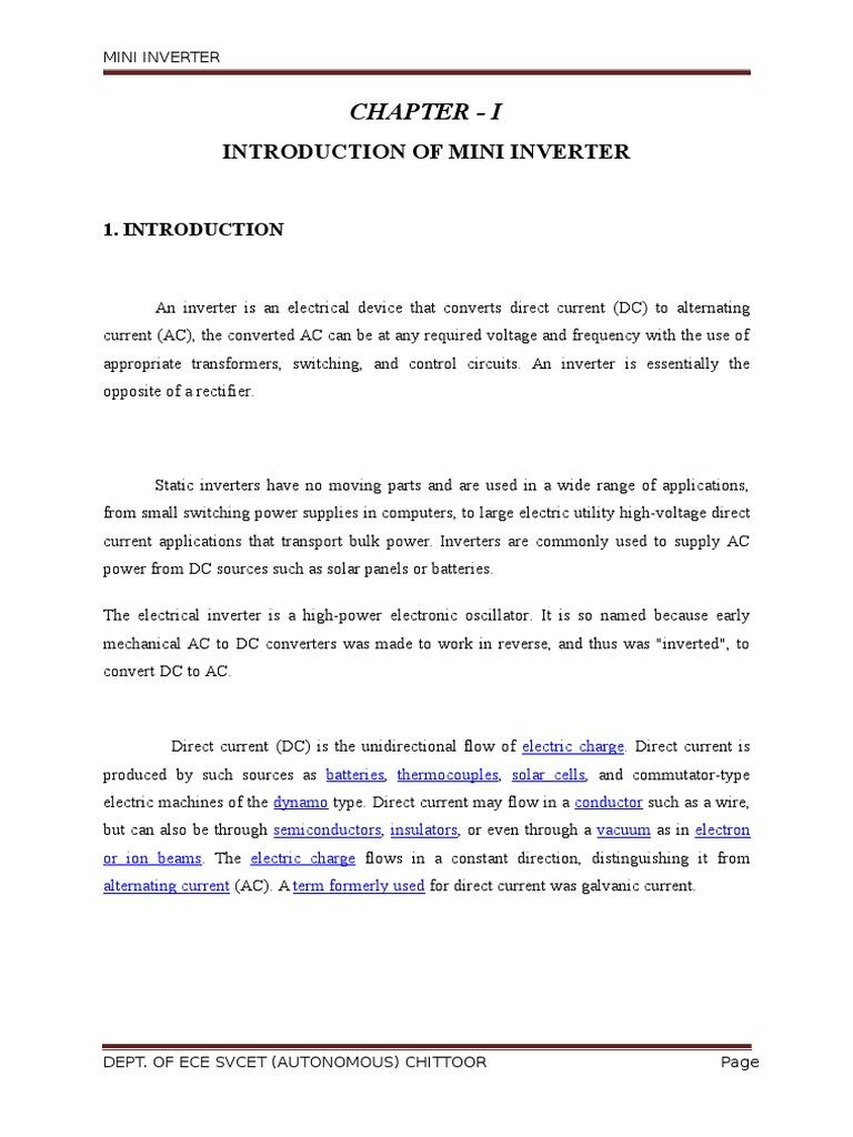 Mini Inverter mini project report  | Electronic Oscillator
