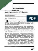 El proceso de fragmentación de la propiedad rural en el departamento de Cajamarca - Mariano Valderrama