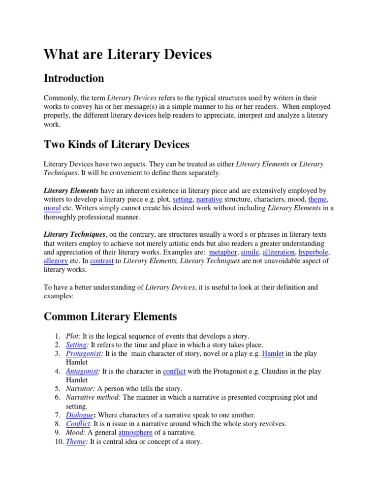 Literary Devices Narrative Plot Narrative