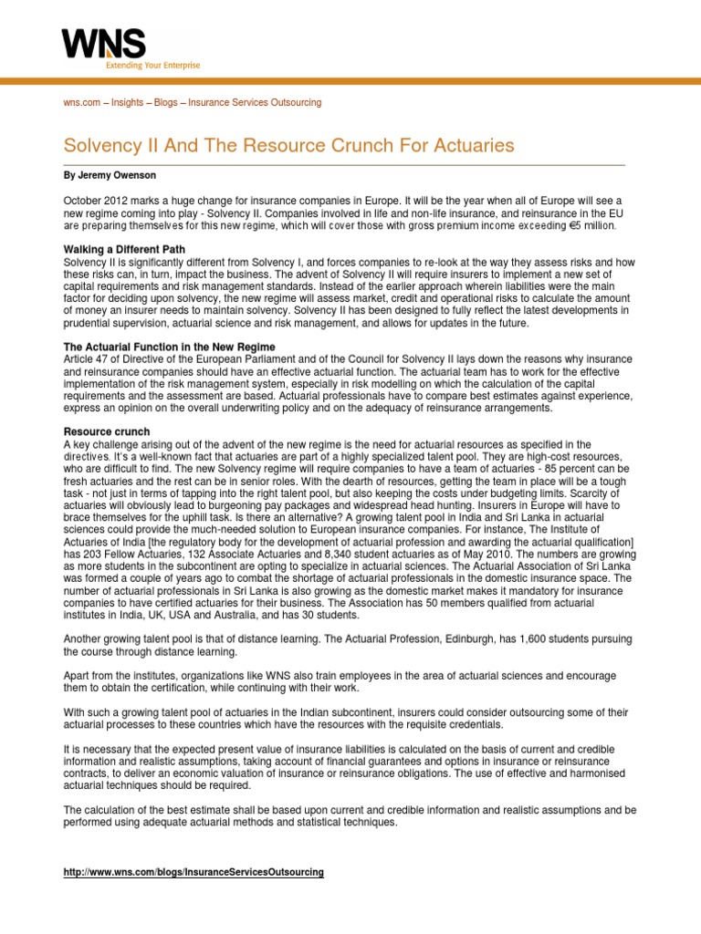 Solvency Ii And The Resource Crunch For Actuaries Actuarial