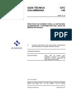 GTC 150 Prácticas de higiene para la captación, elaboración y distribución del agua de bebida envasada.pdf
