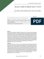 Comparação entre métodos para a análise de coliformes totais e E. coli em amostras de água