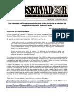 Informe especial No. 5 Los intereses detrás del antejuicio a Amílcar Pop