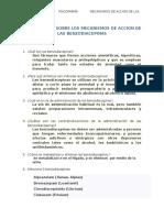 Cuestionario Sobre Los Mecanismos de Accion de Las Benzodiacepinas