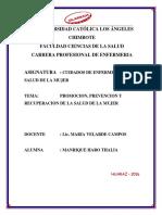 Intervenciones de Promoción, Prevencion y Recuperacion de La Mujer Con Miomas