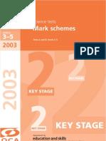 2003 Science Mark Scheme