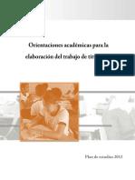 Titulación Orientaciones Académicas