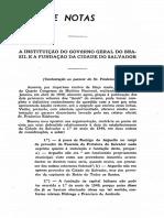 1950 - Edgard de Cerqueira Falcão a Instituição Do Govêrno Geral Do Brasil e a Fundação Da Cidade Do Salvador