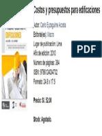 Costos y Presupuestos Ing Carlos Eyzaguirre